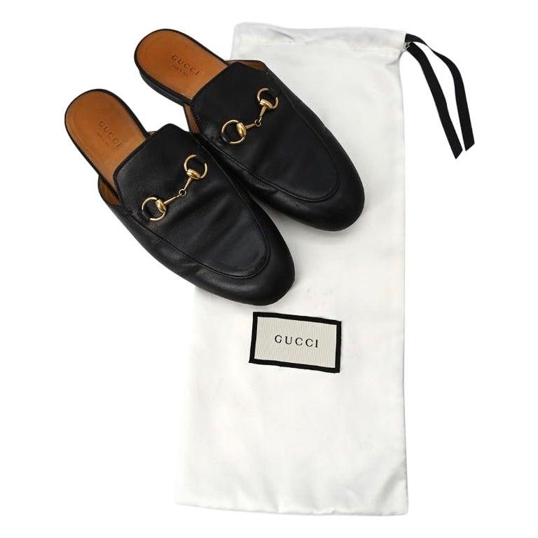 Gucci Black Princeton Horsebit Leather Backless Loafer US 7 For Sale