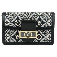 Louis Vuitton Dauphine 1854 MM Leather Trimmed Canvas Wallet On Chain Bag