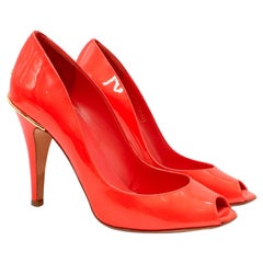 Chanel Coral Patent Leather Open Toe Pumps US 6.5