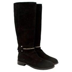Balenciaga Black Suede Long Riding Boots US 7