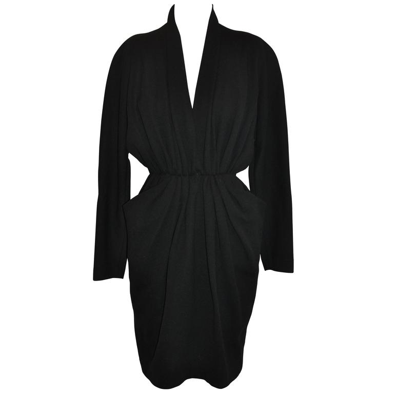 "Donna Karan Iconic Signature ""Sold Out"" Black Wool Crepe Jersey Dress For Sale"