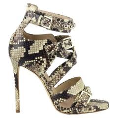 Elie Saab Studded Snake Effect Leather Sandals