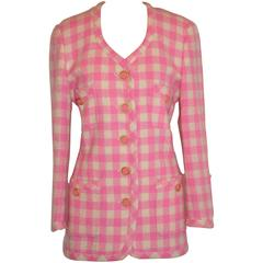 Escada Bold Pink & Cream Checkered Button Jacket
