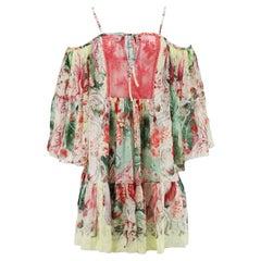Roberto Cavalli Cold Shoulder Lace Panelled Silk Mini Dress