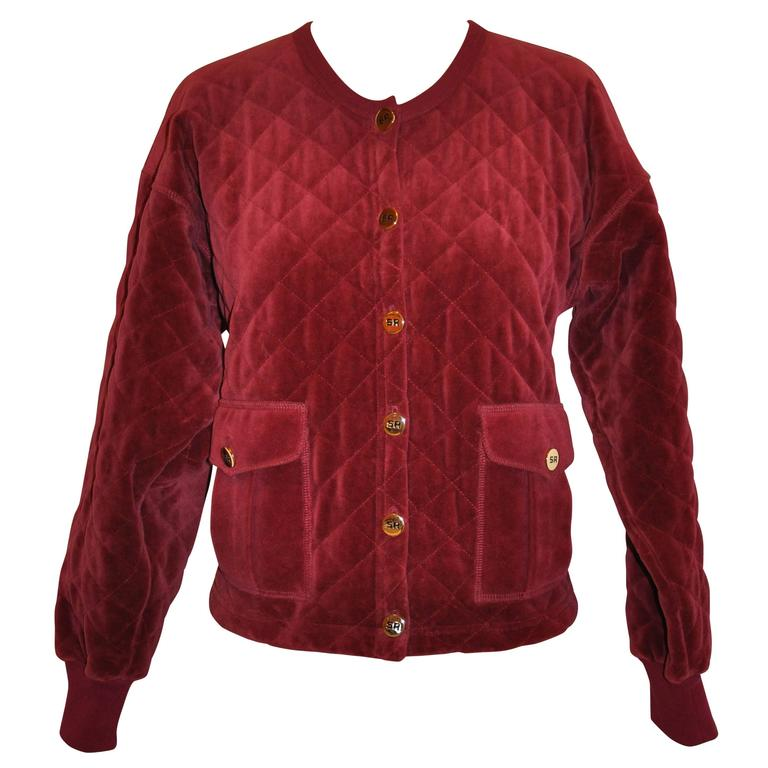 Sonia Rykiel Burgundy Quilted Cropped Cotton Button Jacket
