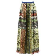 Alberta Ferretti Pleated Printed Silk Chiffon Maxi Skirt