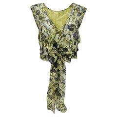 Alberta Ferretti Multi Printed Silk Chiffon Wrap Top