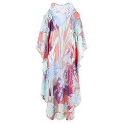 Roberto Cavalli Cold Shoulder Floral Print Silk Georgette Maxi Dress