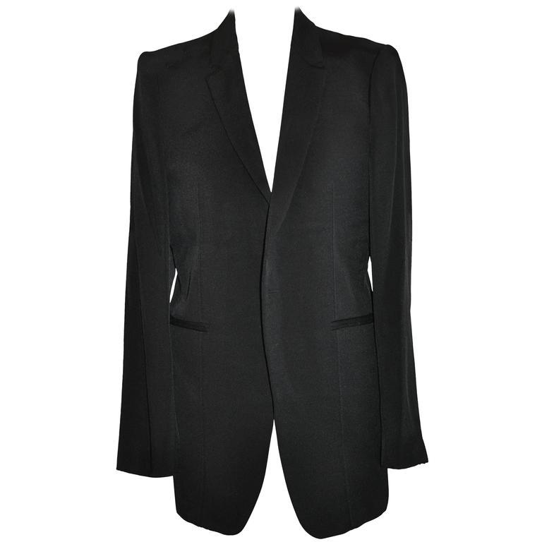 "Yoshji Yamamoto Men's Black ""Runway"" Wool Gabardine Jacket"