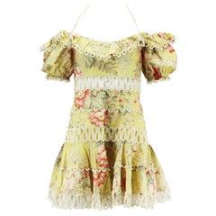 Zimmermann Jaya Wave Crochet Trimmed Floral Print Linen Blend Mini Dress