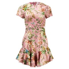 Zimmermann Tropicale Open Back Floral Printed Linen Blend Mini Dress