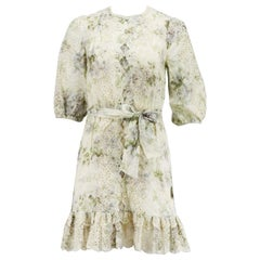 Zimmermann Floral Print Broderie Anglaise Linen Mini Dress
