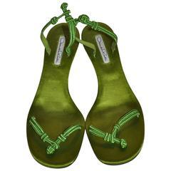 Oscar de la Renta Bold Neon Green Silk Satin Kitty-Heel Evening Sandal