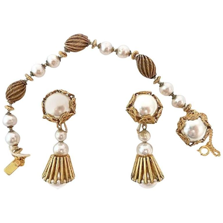 Vintage Signed Miriam Haskell Faux Pearl Bracelet & Earrings For Sale