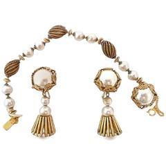 Vintage Signed Miriam Haskell Faux Pearl Bracelet & Earrings