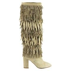 Aquazzura Woodstock Fringed Suede Knee High Boots
