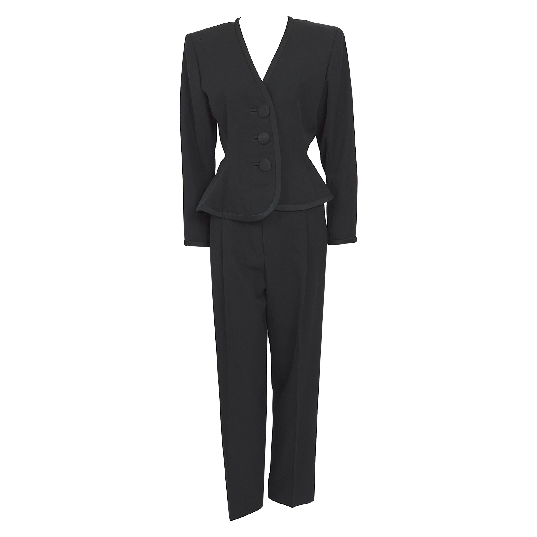 Yves Saint Laurent jet black vintage 1980s smoking satin details 2 piece suit