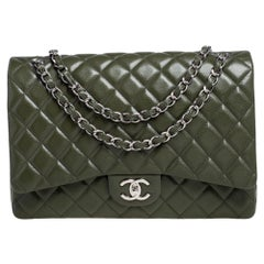 Chanel Green Quilted Caviar Leather Maxi Classic Double Flap Bag