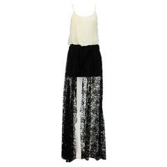 Jay Ahr Draped Voile & Lace Maxi Dress