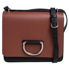 Burberry Black/Brown Leather Small D-Ring Chain Shoulder Bag