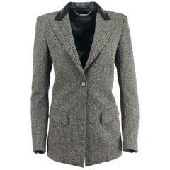 Barbara Bui Leather Trimmed Herringbone Wool Blend Blazer