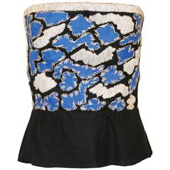 1970's Christian Dior Haute Couture by Marc Bohan Raffia Bustier Top