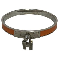 Hermes Kelly H Lock Bangle in Palladium and Leather w/Pouch