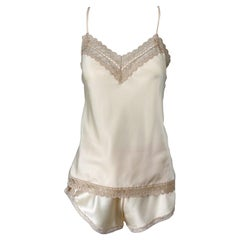 NWT 1980s Christian Dior Ivory Satin Lace Three Piece Cami 80s Lingerie PJ Set