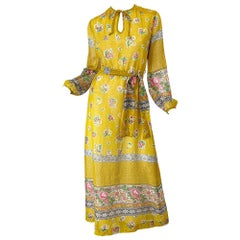 1970s Gay Gibson Trompe L'Oeil Lace Print Yellow Cotton Voile 70s Maxi Dress