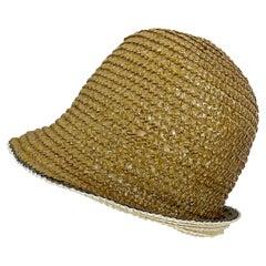 Yves Saint Laurent 1960s YSL Gold Raffia Strawl Vintage 60s Cloche Hat