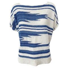 1990s Ralph Lauren Linen + Silk Knit Ikat Navajo Vintage 90s Shirt Blouse