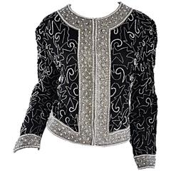 Amazing Vintage Black and White Pearls + Beads + Rhinestones Silk Jacket