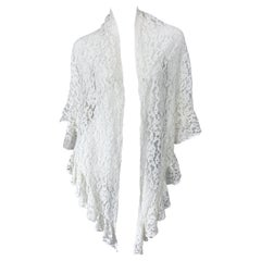 1970s Charm of Hollywood White Lace Rayon Vintage 70s Large Piano Shawl