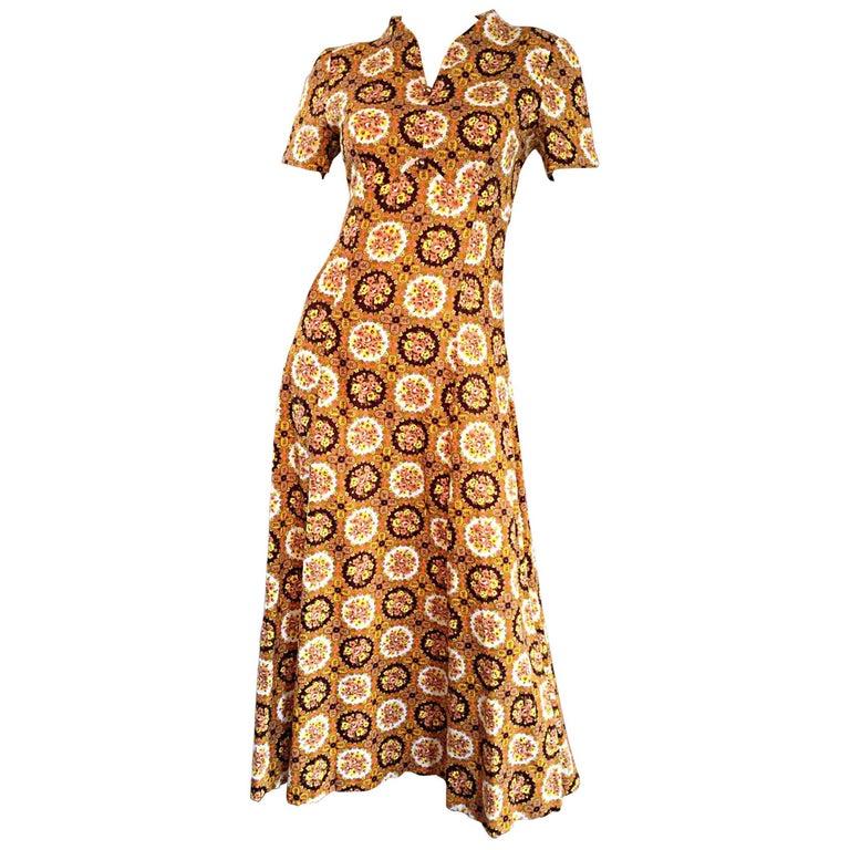 Vintage Joseph Magnin 1970s Boho Cotton Flower 70s Bohemian Ethnic Midi Dress For Sale