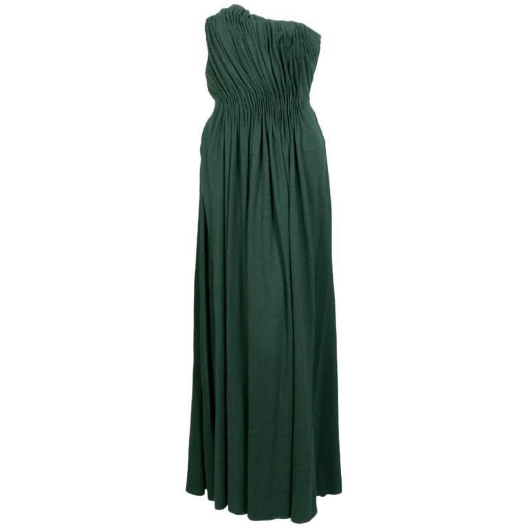 Lanvin Bottle Green Draped Jersey Strapless Evening Dress