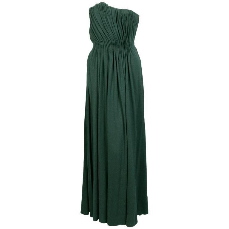 Lanvin Bottle Green Draped Jersey Strapless Evening Dress