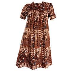1960s Joseph Magnin Vintage Tribal Print Ethnic A - Line Trapeze Babydoll Dress