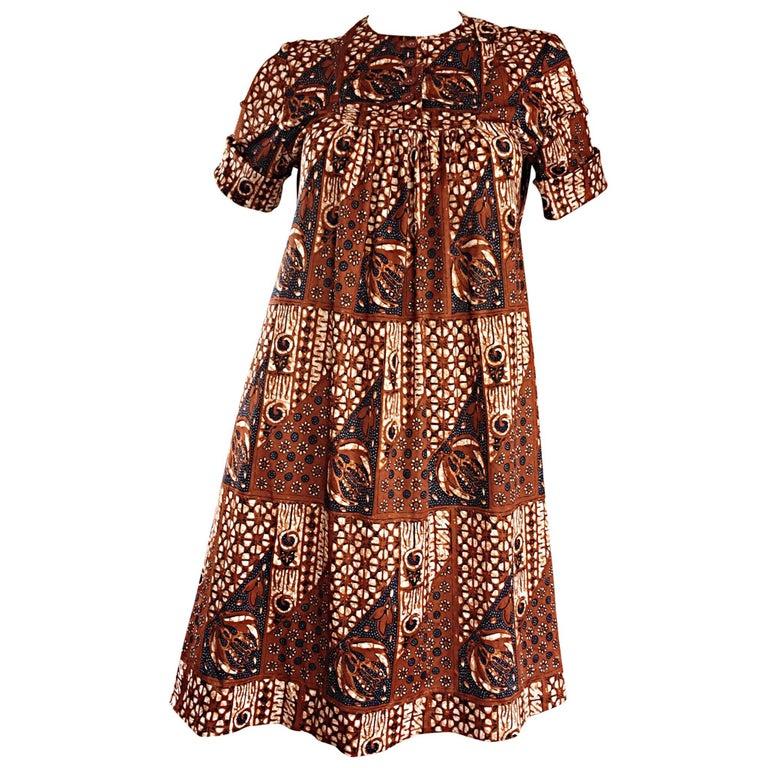 1960s Joseph Magnin Vintage Tribal Print Ethnic A - Line Trapeze Babydoll Dress For Sale