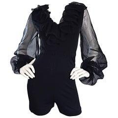 1970s Mollie Parnis Vintage Black Jersey Playsuit Romper w/ Poet Chiffon Sleeves