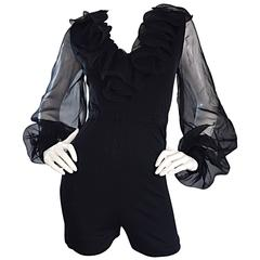 Mollie Parnis Vintage 70s Black Jersey Playsuit Romper w/ Poet Chiffon Sleeves
