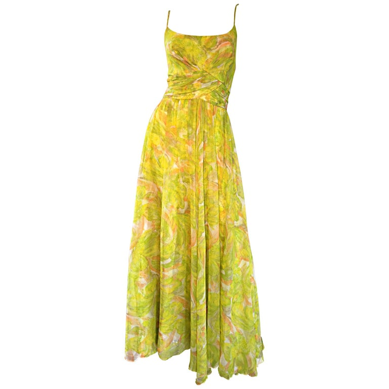 Amazing 1970s Joseph Magnin Chartreuse Green Chiffon 70s Vintage Maxi Dress Gown For Sale