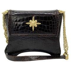 Barry Kiselstein Cord Brown Alligator Shoulder Bag