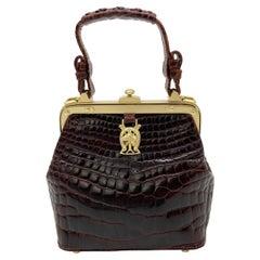 Barry Kieselstein Cord Brown Alligator Horseshoe Handbag
