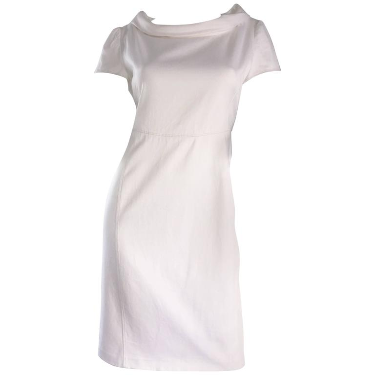 Brand New Valentino White Jackie O 1960s 60s Style Cowl Neck Dress Rt. $3,800 For Sale