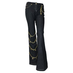 Escada Jeans, Gold Embroidery, Gold Tone Hanging Charms Size 36 EU
