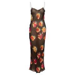 Krizia Black & Multicolor Silk Abstract Print Dress