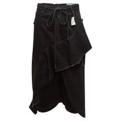 Off-White Black Denim Ruffle Midi Skirt