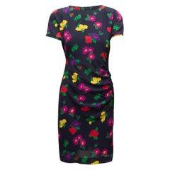 Ungaro Navy & Multicolor Silk Floral Print Dress