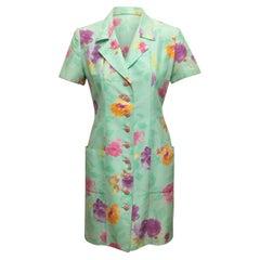 Emanuel Ungaro Mint & Multicolor Floral Print Dress