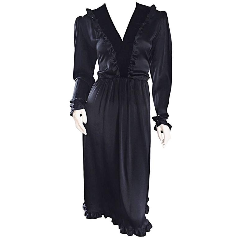 Vintage Yves Saint Laurent ' Rive Gauche ' Black Silk Russian Collection Dress